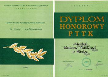 Dyplom Honorowy PTTK dla biblioteki